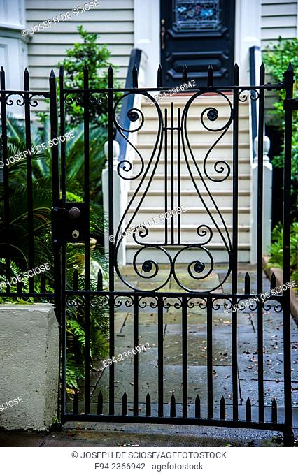 Detail of a wrought iron gate in Charleston South Carolina