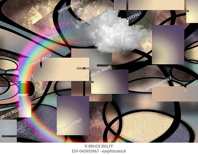 Modern Geometric Abstract. Rainbow and Cloud. Curved lines