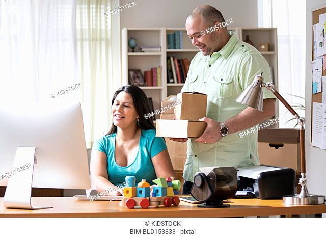 Couple working together from home