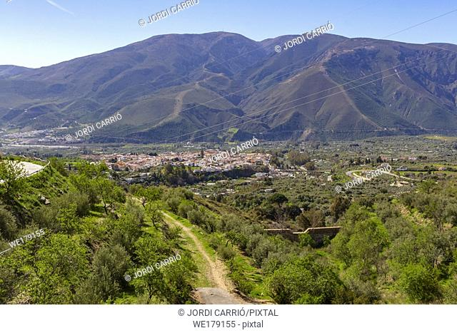 The Alpujarra, Andalusia, Spain: In the lower valley you can see a town of white houses