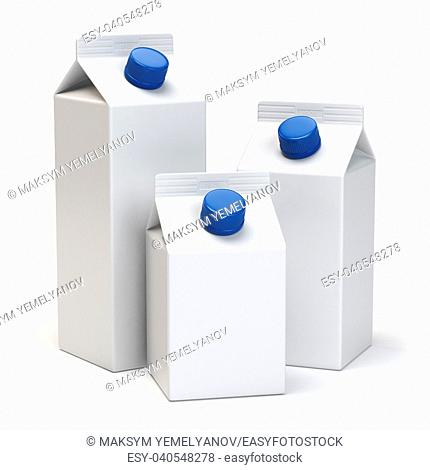 Milk or juiice blank white carton packs Isolated on white. 3d illustration
