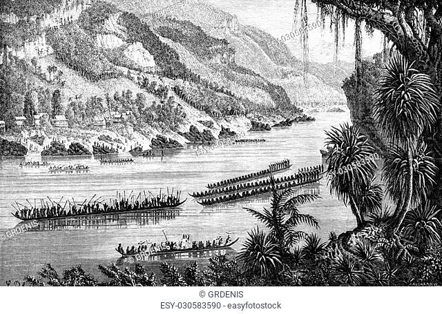 Boat race on the Mekong, vintage engraved illustration. Le Tour du Monde, Travel Journal, (1872)