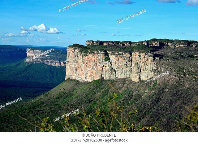 Panoramic view of rock formations at dusk from the Pai Inácio Hill in Chapada Diamantina, Palmeiras, Bahia, Brazil, 04.2016