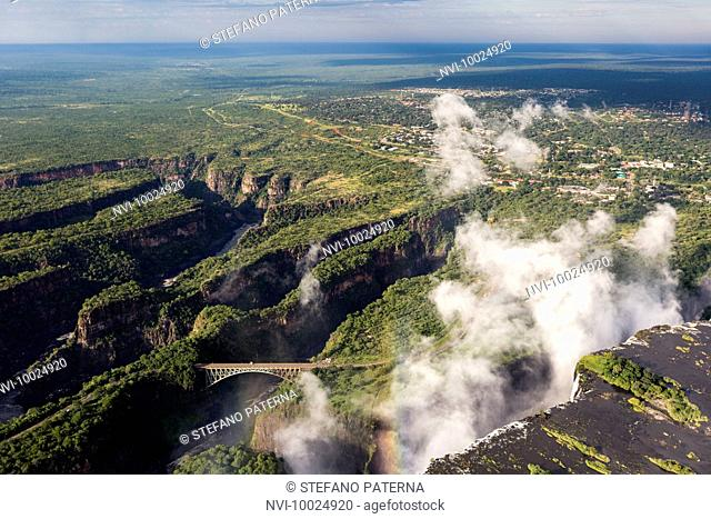 Victoria Falls of the Zambezi River between border towns of Victoria Falls in Zimbabwe and Livingstone in Zambia, Africa