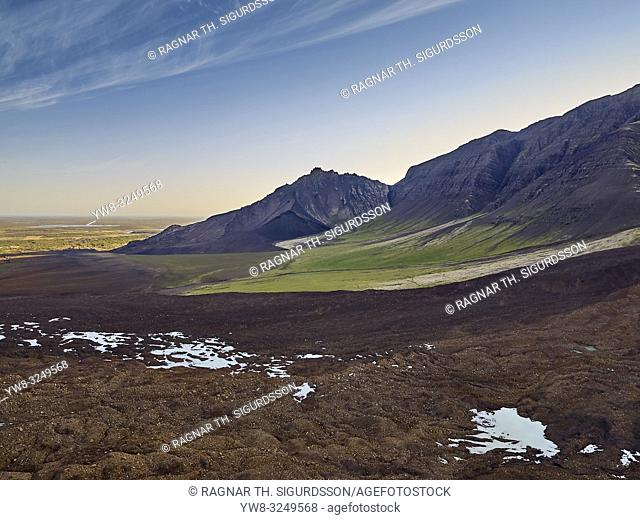 Enormous landslide on Fagraskogarfjall mountain in Hitardalur, Western, Iceland