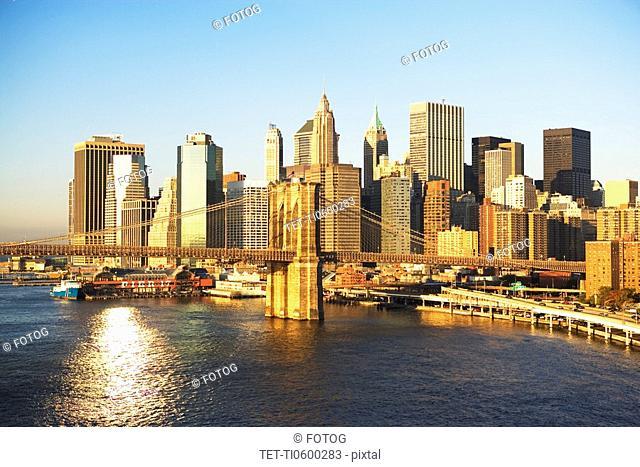 New York City skyline and Brooklyn Bridge