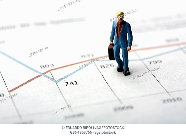 Dummies on a graph of stock market