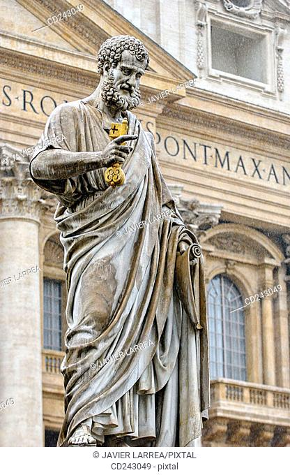 Statue of St. Peter in St. Peter's Square. Vatican City, Rome. Italy