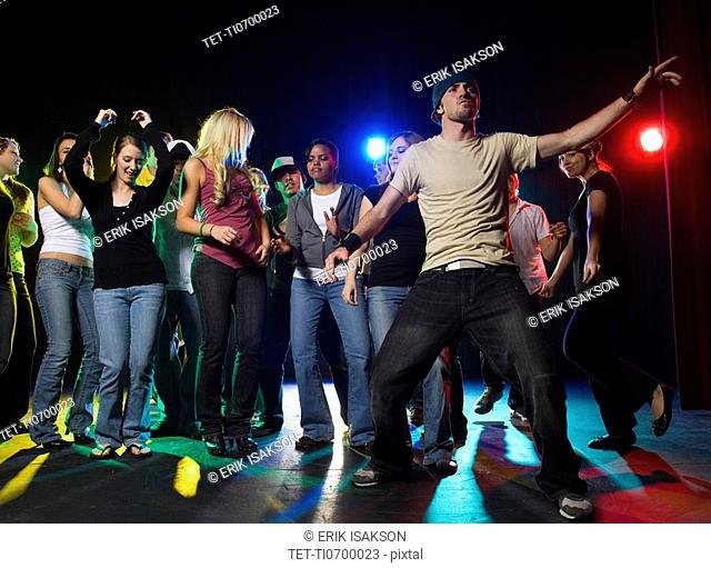 Young people at dance club