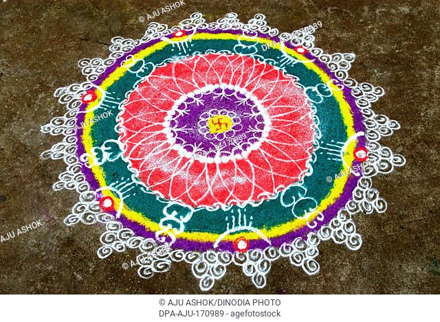 Rangoli floor design with swastik during diwali deepawali festival 2009