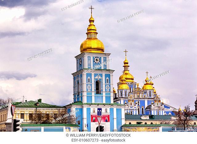 Saint Michael Monastery Cathedral Steeples Spires Tower Golden Dome Facade Kiev Ukraine. Saint Michael's is a functioning Greek Orthordox Monasatery in Kiev