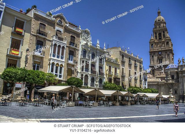 HDR image of the Plaza del Cardenal Belluga with apartments and Bell Tower, Murcia Spain