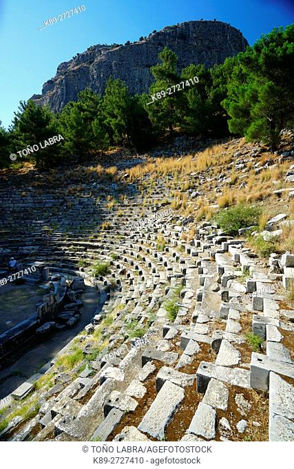 Priene Amphitheater. Ancient Greece. Asia Minor. Turkey