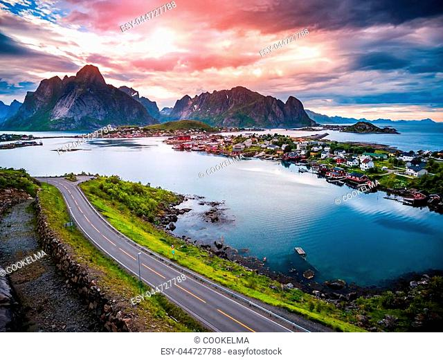 Lofoten islands is an archipelago aerial photography., Norway. Is known for a distinctive scenery with dramatic mountains and peaks, open sea and sheltered bays