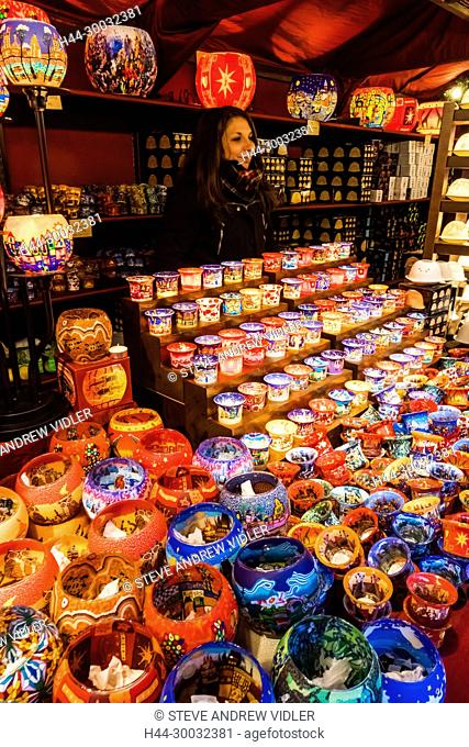 England, London, Leicester Square, Christmas Market, Stall Display of Candles