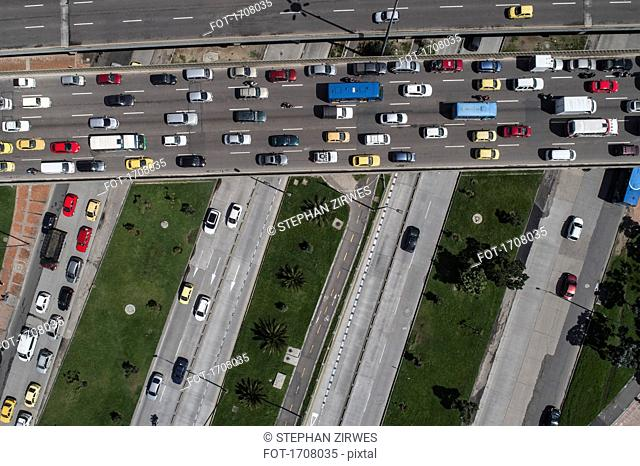 Aerial view of traffic on streets in city, Bogota, Columbia