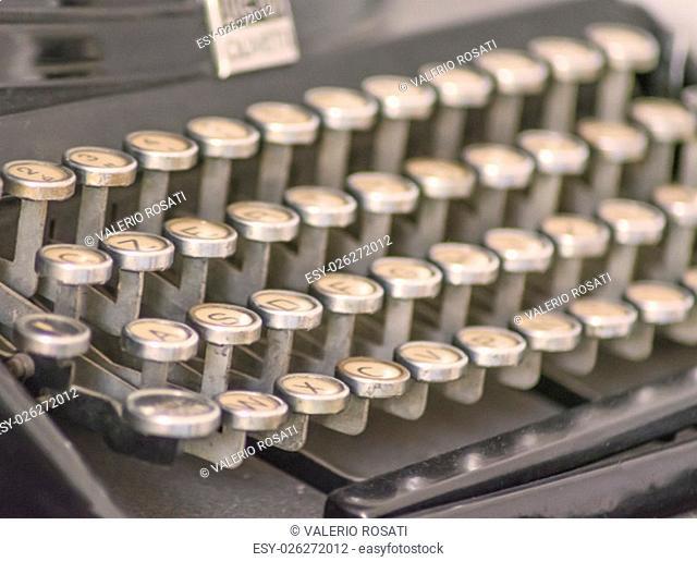 Close up of an old typewriter's keys