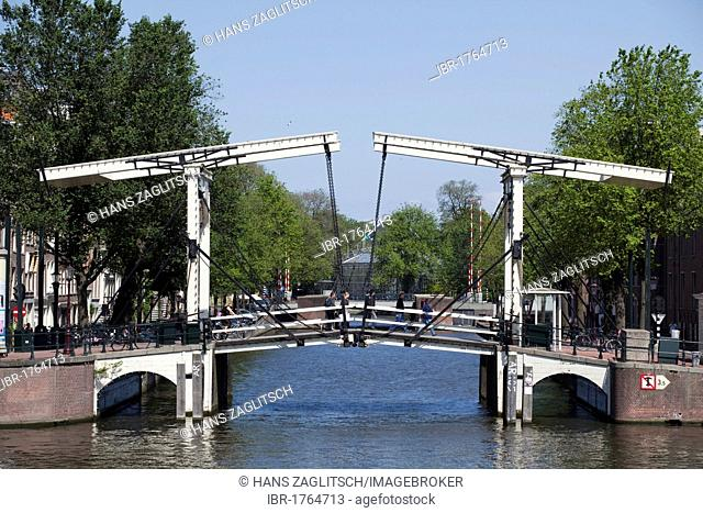 Replica of the Magere Brug bridge over the Amstel river, Amsterdam, Holland, Netherlands, Europe