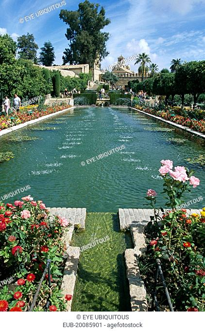 Fortress of the Christian Kings, Pond in the gardens of Alcazar de los Reyes Cristianos