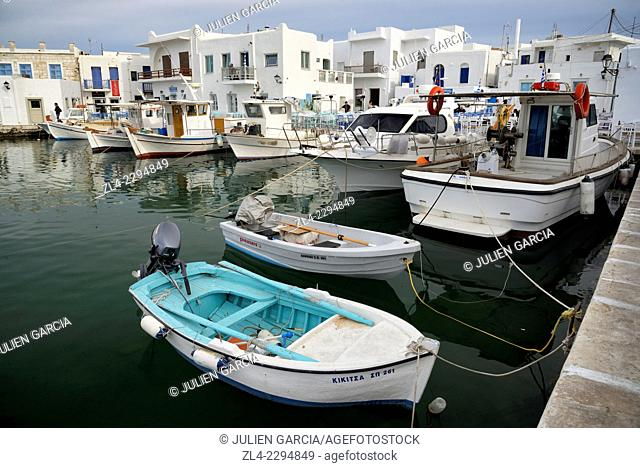 Naoussa Naousa fishing harbour. Greece, Greek islands in the Aegean sea, the Cyclades, Paros island