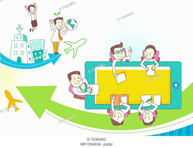illustration of business people having a meeting
