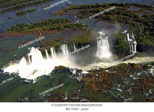 Cataracts Iguazu Waterfalls aerial view Argentina Brazil