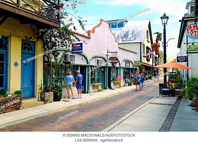 Aviles street shopping district in the Historic St. Augustine Florida the oldest city in America