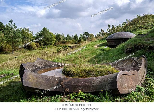 Demolished turret of the of the First World War One Fort de Vaux at Vaux-Devant-Damloup, Lorraine, Battle of Verdun, France