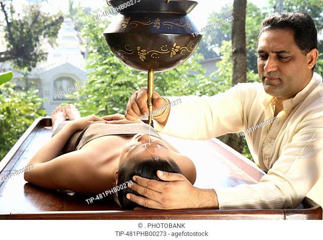 Shirodhara - Ayurvedic Treatment at the Dheva Spa at Mandarin Oriental Dhara Dhevi in Chiang Mai, Thailand