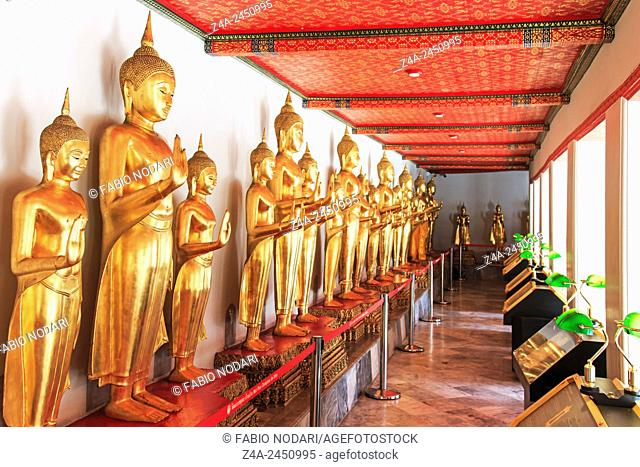 Bangkok, Thailand - Buddha statues inside the Wat Pho temple, known also as the Temple of the Reclining Buddha