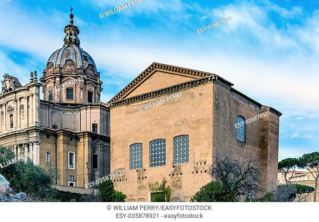 Santi Luca e Martina Church Curia Senate House Roman Forum Rome Italy. Curia is spot original Roman Senate met. Santi Luca was originally commissioned 625 AD