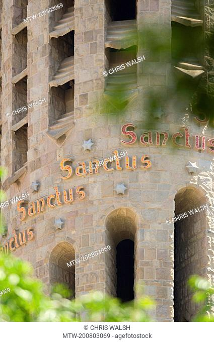 La Sagrada Famila Basilica detail tower facade