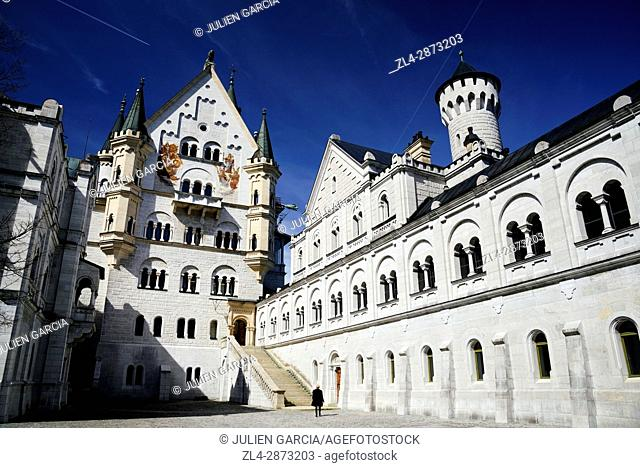 Germany, Bavaria, Romantic Road (Romantische Strasse), Schwangau, Neuschwanstein Castle, 19th-century Romanesque Revival palace commissioned by Ludwig II of...