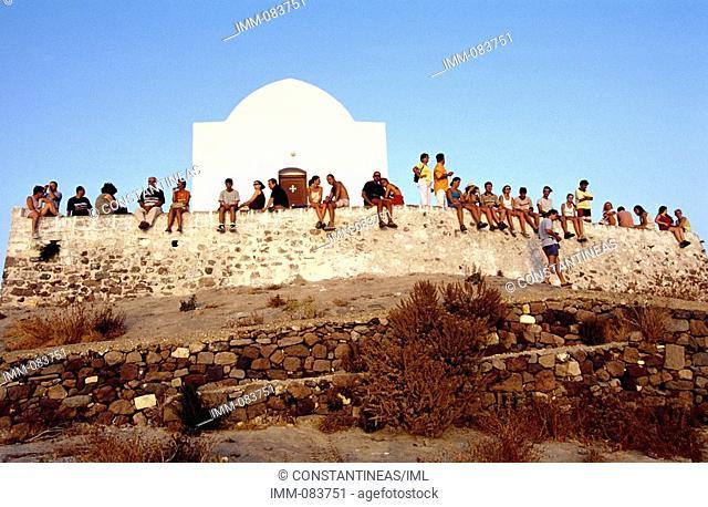 Cyclades, Milos Plaka, People watching the sunset