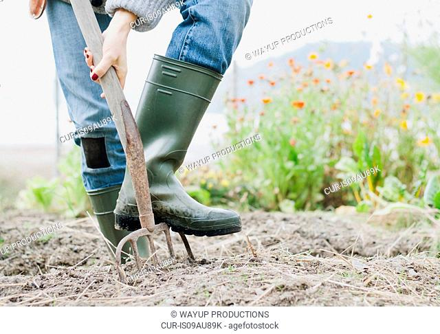Cropped shot of woman wearing rubber boots digging organic garden with fork