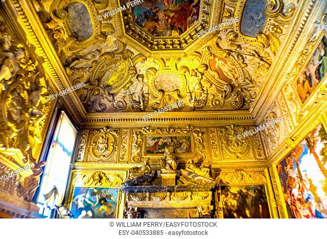 Ceiling Sala del Collegio Palazzo Ducale Doge's Palace Venice Italy. Doge's Palace was the residence of the Venetian ruler from 1200s to 1787