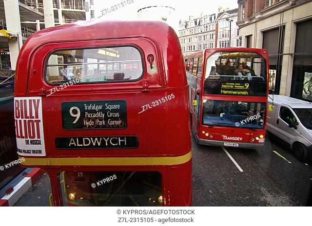 United Kingdom, London. Elevated view of double decker bus