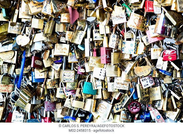 Love Padlocks at Pont de l'Archevche in Paris. The thousands of locks of loving couples symbolize love forever
