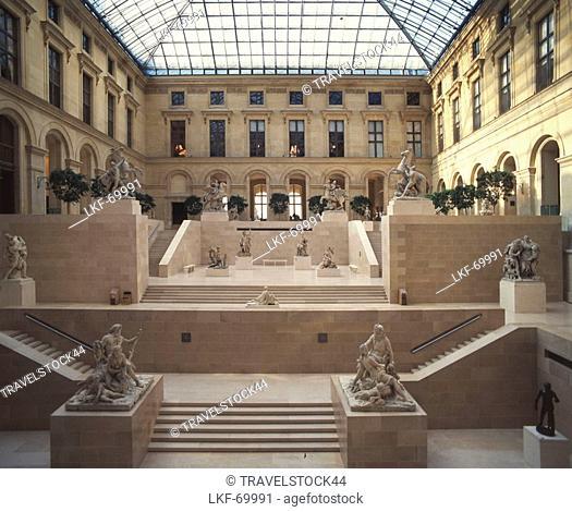 France, Paris, Louvre, atrium, sculptures