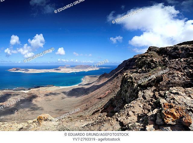 View of the Island of La Graciosa from a viewpoint of Lanzarote. Lanzarote islands, Las Palmas, Canary, Spain