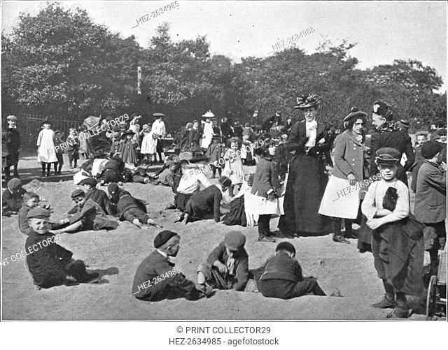 The sandpit, Victoria Park, London, c1900 (1901). Artist: Unknown