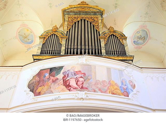 Organ and interior of the Castle Church of St. Marien on Mainau Island, Lake Constance, Konstanz district, Baden-Wuerttemberg, Germany, Europe, Europe
