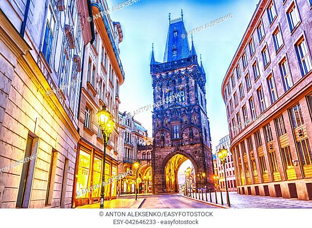 The Powder Tower in Prague, twilight view, no people