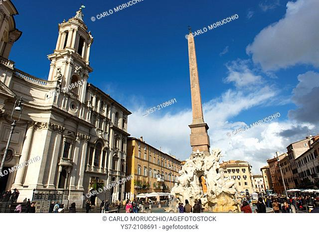 Saint Agnese in Agone church the Fountain of the four Rivers and the egyptian obelisk, Piazza Navona, Rome, Lazio, Italy, Europe