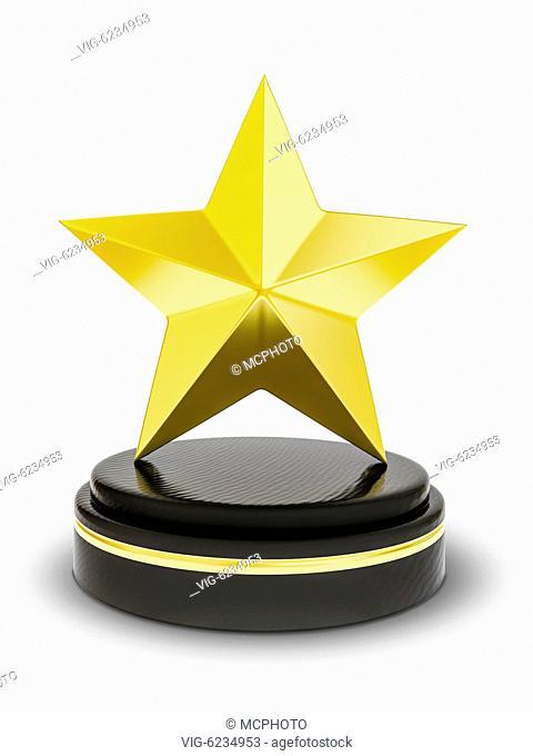 3d illustration of a golden star trophy - 01/01/2018