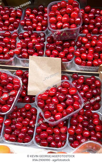 Red Cherry Background on Italian Market Stall