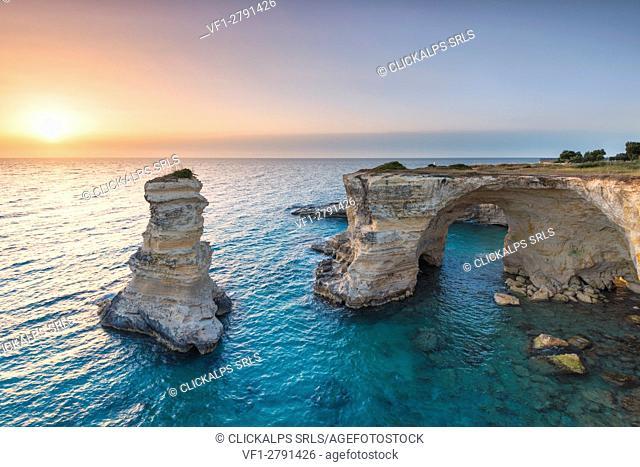 Melendugno, province of Lecce, Salento, Apulia, Italy. The Faraglioni in Torre Sant'Andrea