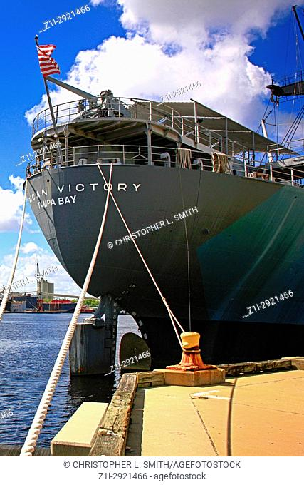 American Victory WW2 troop ship in Port Tampa Bay FL, USA