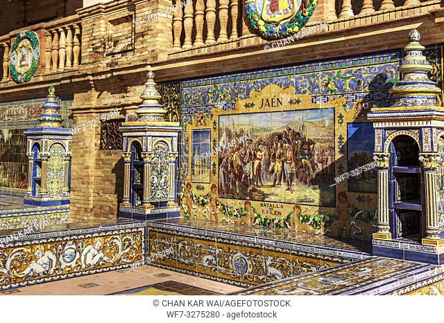Seville, Spain - Dec 2018: Tiled provincial alcoves along the walls of Spain Square, Maria Luisa Park