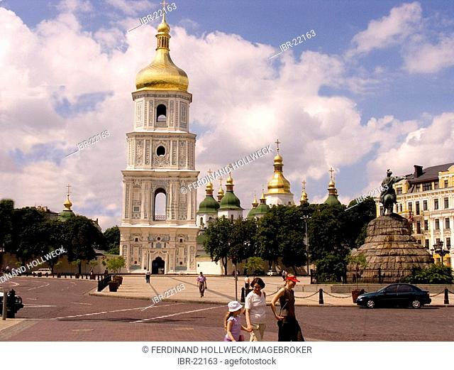 Ukraine Kiev view to Sophien place with big belltower and the shining golden domes of Sophien cathedral 1054 the memorial of Bohdan Chmel'nyc'kyj 1657 + on...